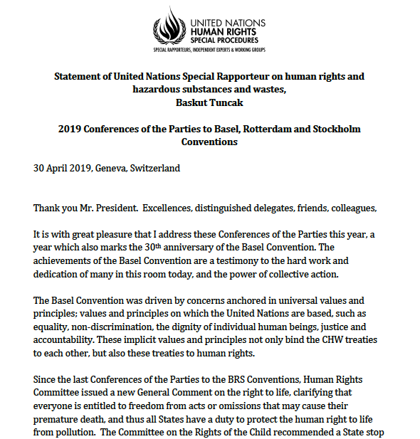 Statement to Basel, Rotterdam & Stockholm COPs - UN Special